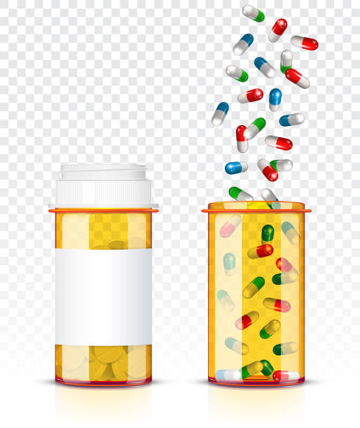illustrazioni stock, clip art, cartoni animati e icone di tendenza di pills bottle isolated on transparent background - antidolorifico