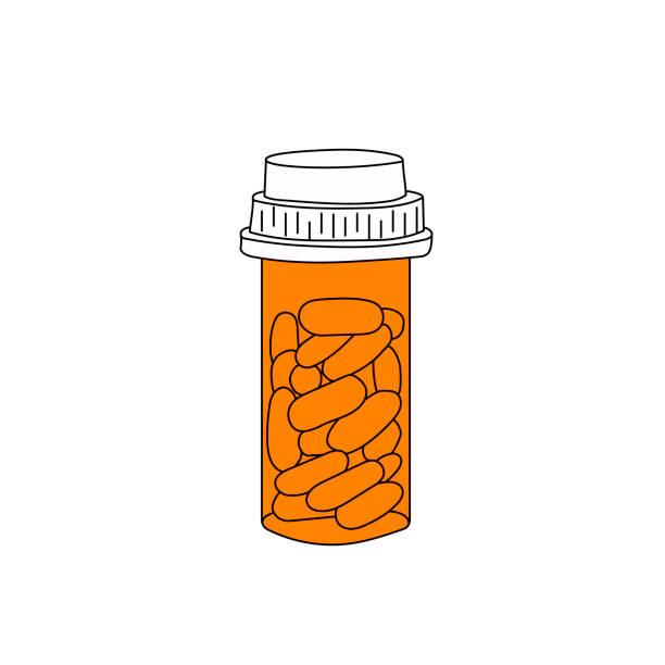 Pills bottle vector illustration Pills bottle vector illustration. Plastic orange container with medication isolated on white background. Hand drawn line art. pill container stock illustrations