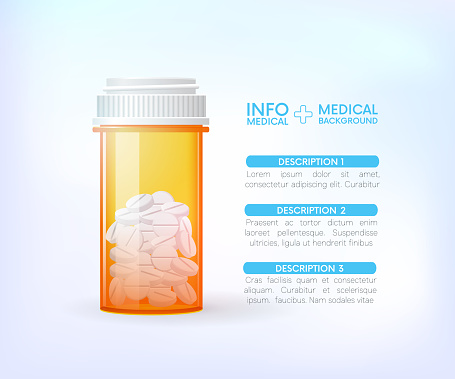 Pills bottle.Medical capsules container.info graphic.Painkillers, antibiotics, vitamins, amino acids, minerals. Icons of medicament. Medical illustration on background.