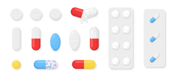 ilustrações de stock, clip art, desenhos animados e ícones de pills, capsules and tablets set isolated on white background. realistic drugs and medicines. drugs, cure and remedy icons or logo. cute cartoon design. flat style vector illustration. - pills