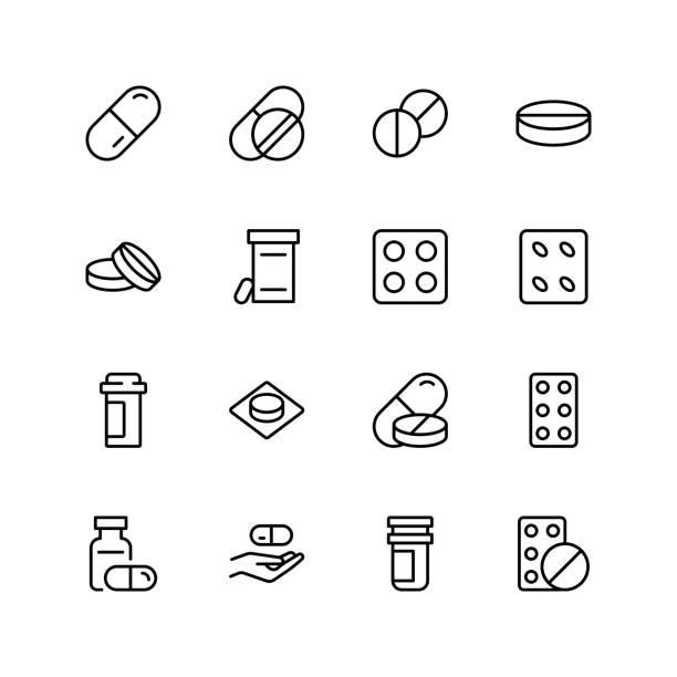ikona tabletek płaskich - kapsułka stock illustrations