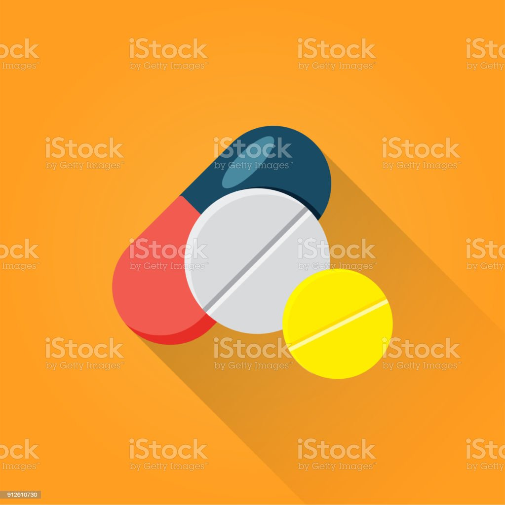 Pills Flat Icon vector art illustration
