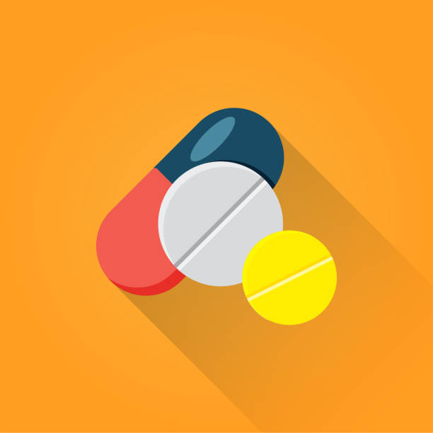 illustrazioni stock, clip art, cartoni animati e icone di tendenza di pills flat icon - farmaco