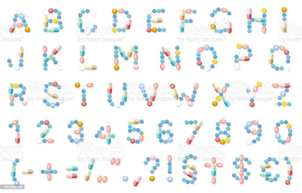 Pills font, medical alphabet letters, pharmaceutical typeface. Isolated vector illustration on white background. royalty-free pills font medical alphabet letters pharmaceutical typeface isolated vector illustration on white background stock vector art & more images of alphabet