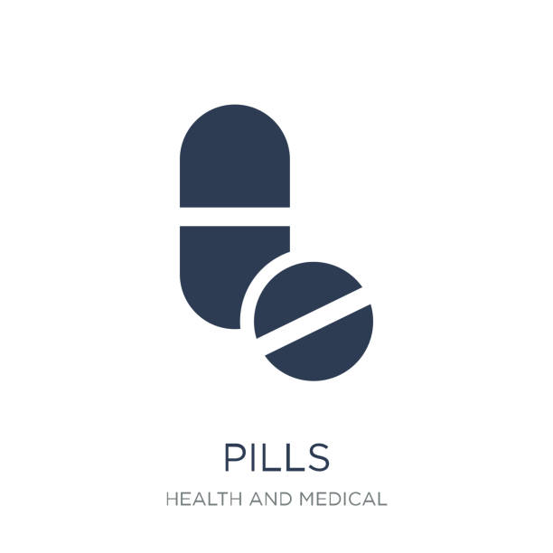 illustrazioni stock, clip art, cartoni animati e icone di tendenza di pills icon. trendy flat vector pills icon on white background from health and medical collection - antidolorifico