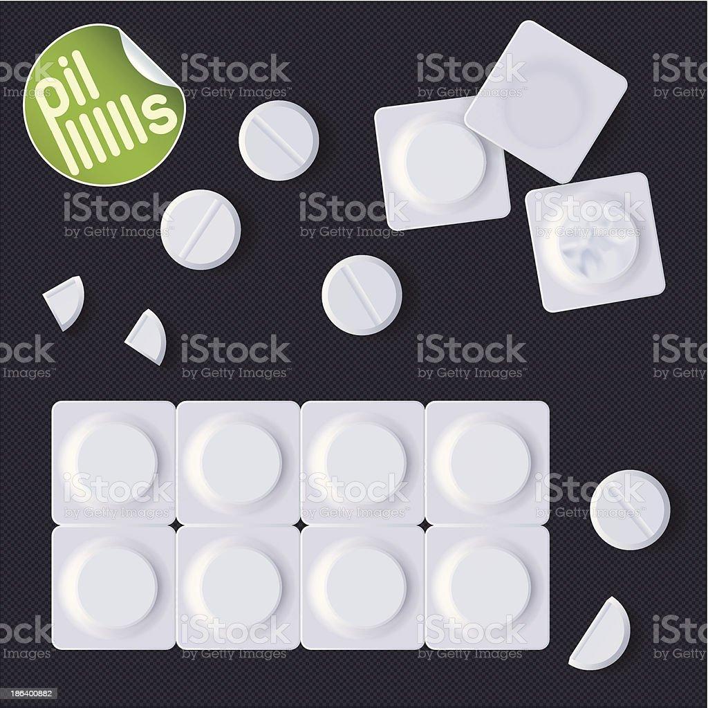 Pills In A Blister Pack vector art illustration