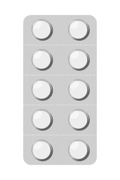 Pills in blister Round tablets in a blister. Pharmaceutical blister pack isolated on white background. Vector illustration aspirin stock illustrations
