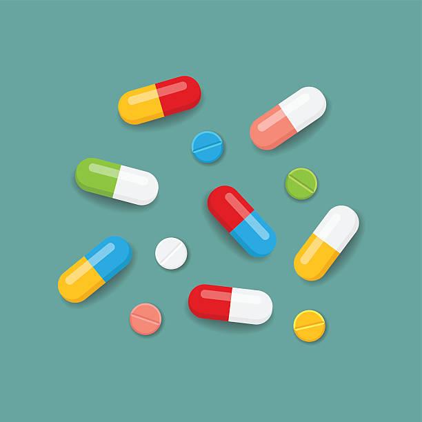 illustrazioni stock, clip art, cartoni animati e icone di tendenza di pillole in colori - antibiotico