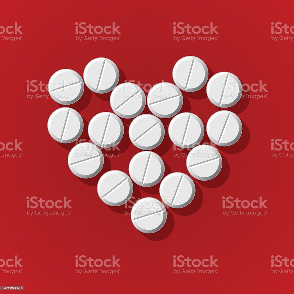 Pills in heart arrange on red background royalty-free stock vector art