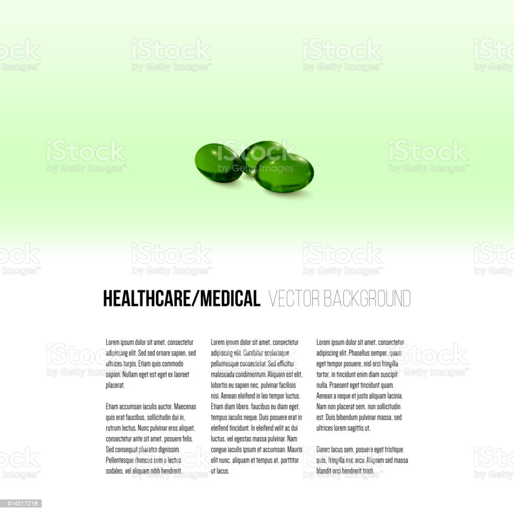 Pills isolated on green background, vector background for brochure, flyer vector art illustration
