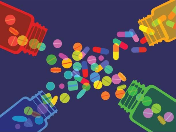 illustrazioni stock, clip art, cartoni animati e icone di tendenza di pills jars - assuefazione