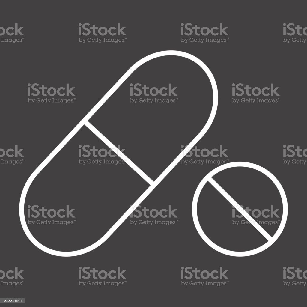 Pills line icon, medicine and healthcare, drug sign vector graphics, a linear pattern on a black background, eps 10. vector art illustration