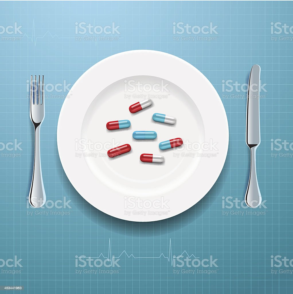 Pills on the plate royalty-free stock vector art
