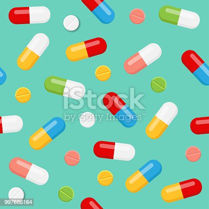 Pills and medicines seamless pattern on blue background. Vector illustration