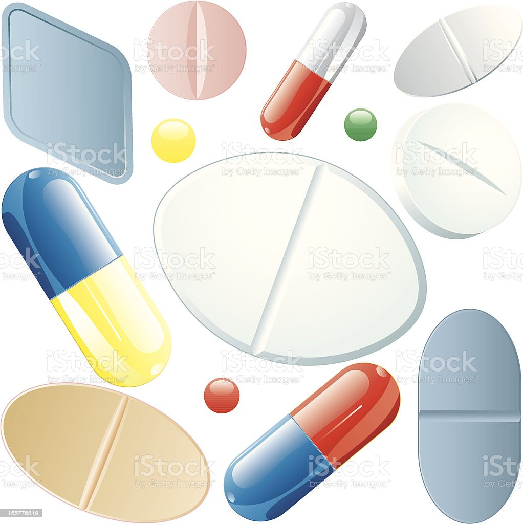 pills set royalty-free stock vector art