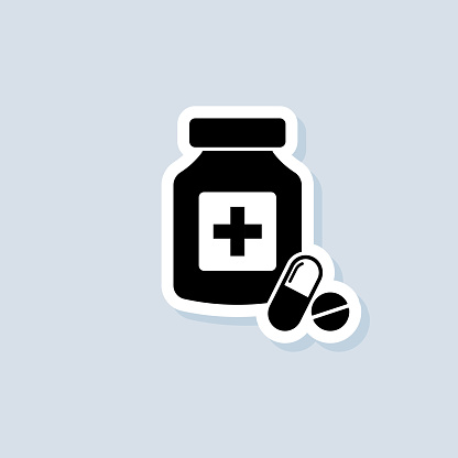 Pills sticker. Medicine bottle icon. Drugstore logo. Medicament. Vector on isolated background. EPS 10