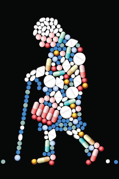 薬タブレット歳の女性 - 老年医学点のイラスト素材/クリップアート素材/マンガ素材/アイコン素材