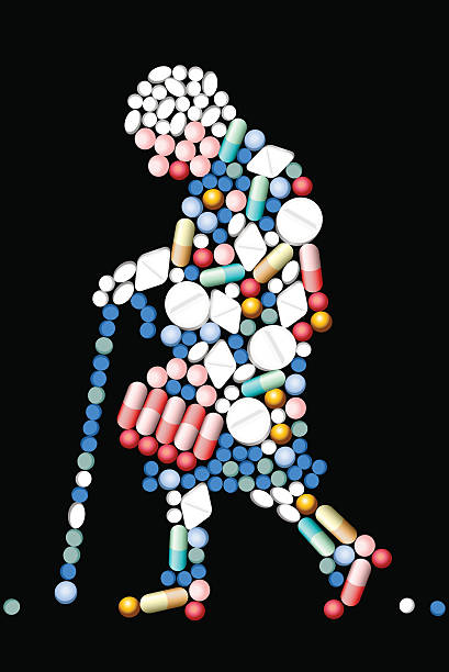 Tabletten Tablets alte Frau – Vektorgrafik