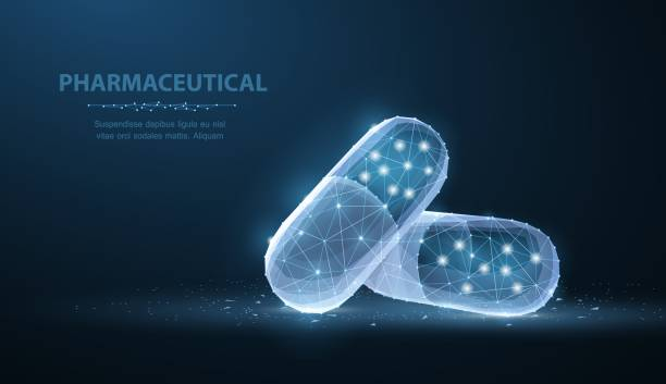 Pills. Abstract polygonal wireframe two capsule pills on blue. Medical, pharmacy, health, vitamin, antibiotic, pharmaceutical, treatment concept illustration or background pharmaceutical industry stock illustrations