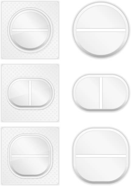 stockillustraties, clipart, cartoons en iconen met pills - doordrukstrip
