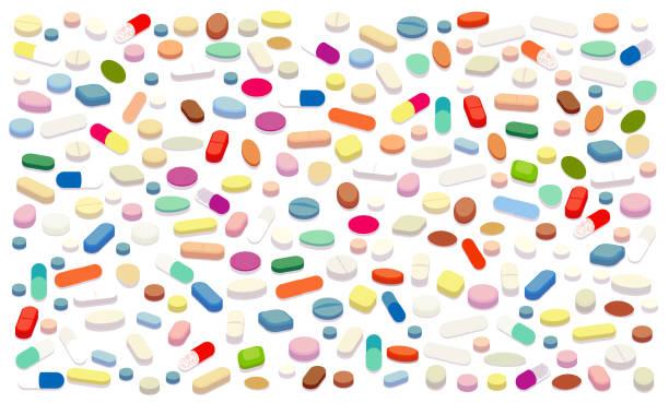stockillustraties, clipart, cartoons en iconen met pillen vector illustratie - amfetamine