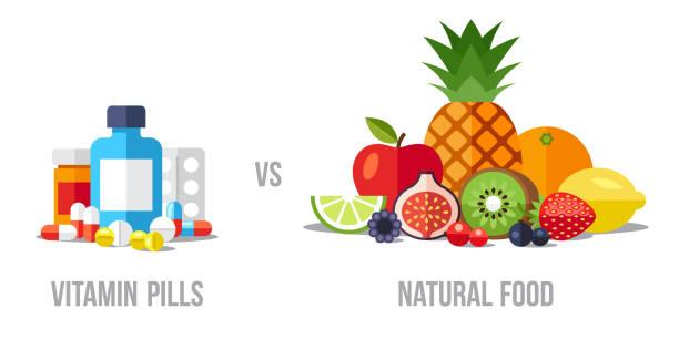 pigułki vs żywności - lekarstwo stock illustrations