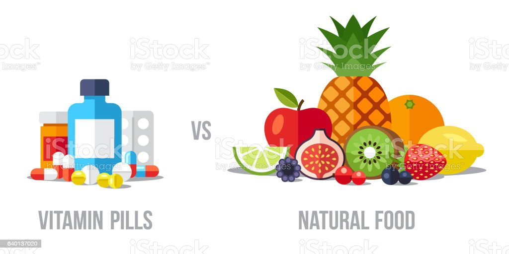 Pills vs food vector art illustration