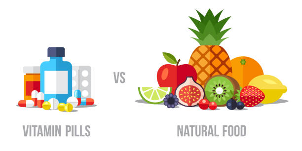 illustrazioni stock, clip art, cartoni animati e icone di tendenza di pills vs food - farmaco