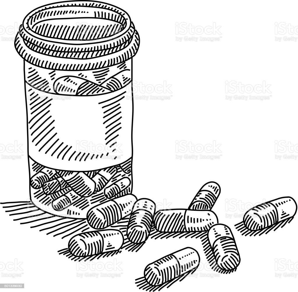 Frasco de p lulas com desenho arte vetorial de stock e for How to draw a pill