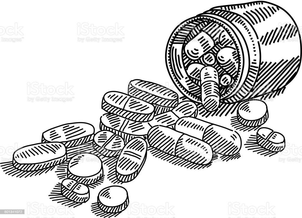 Ilustra o de rem dios com garrafa de desenho e mais banco for How to draw a pill