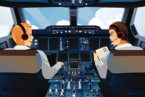 Pilot and copilot inside the cockpit vector art illustration