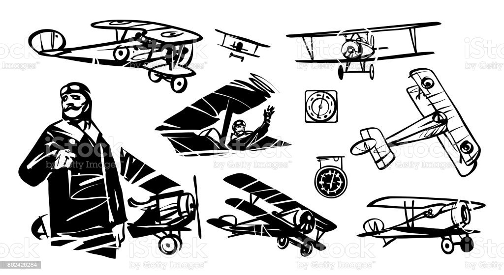 Pilot and set of illustrations Nieuport-17 vector art illustration