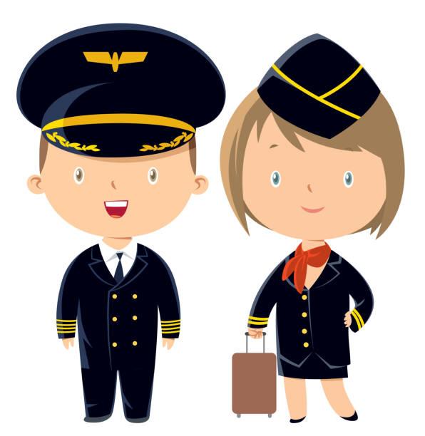 stockillustraties, clipart, cartoons en iconen met piloot en stewardess - stewardess