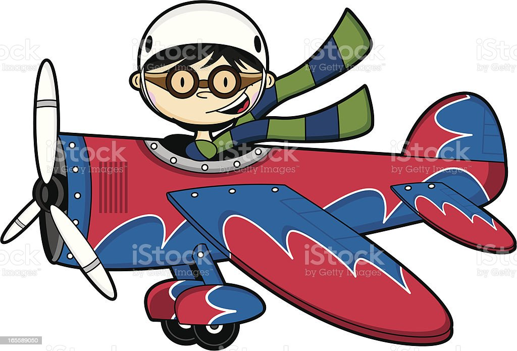 pilot boy flying plane stock vector art more images of aircraft rh istockphoto com