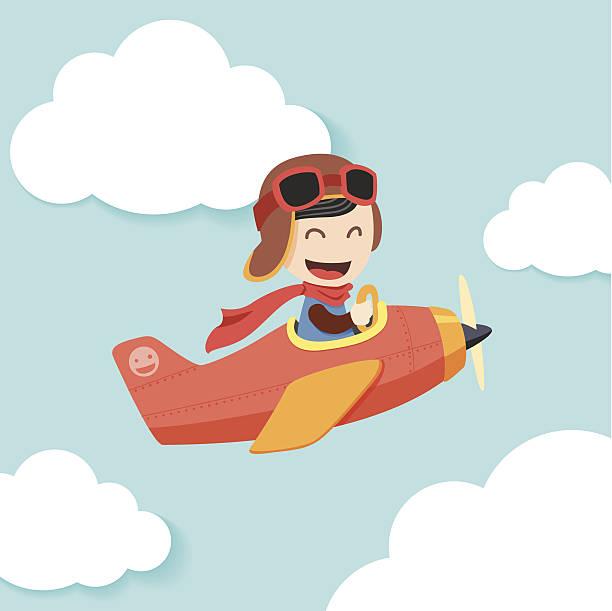Pilot Boy Cartoon illustration of boy on airplane. pilot stock illustrations