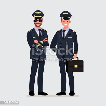 Pilot, capitan .Vector illustration cartoon character