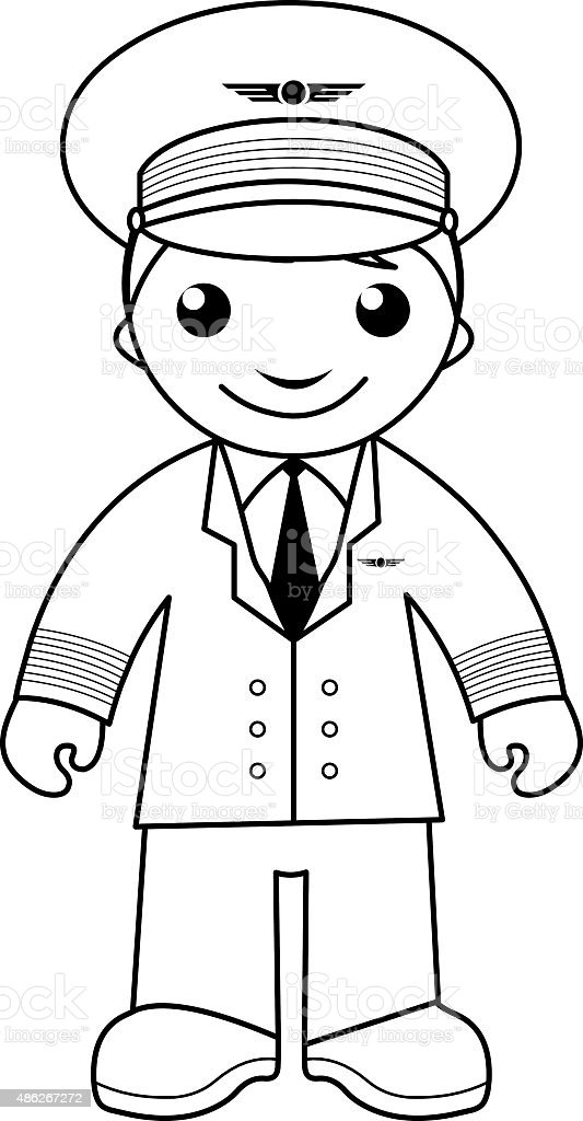 Pilot Coloring Page For Kids Stock Vector Art More Images Of