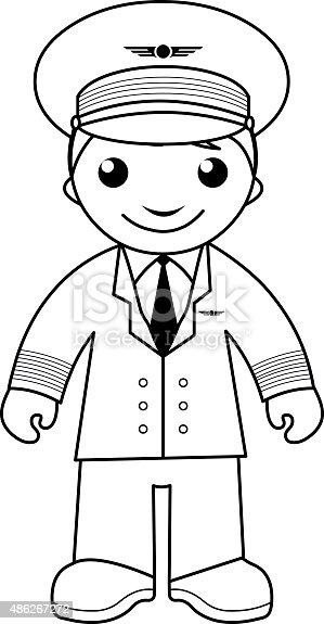 Pilot Coloring Page For Kids Stock Vector Art & More