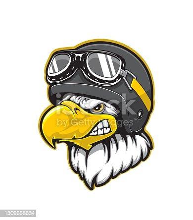 istock Pilot eagle bird mascot, aviator helmet, goggles 1309668634
