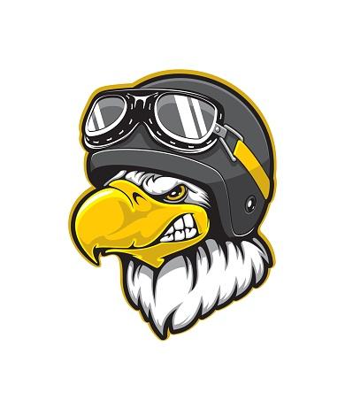 Pilot eagle bird mascot, aviator helmet, goggles