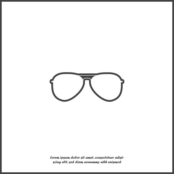 Pilot glasses. Sunglasses protect from the sun on white isolated background. vector art illustration