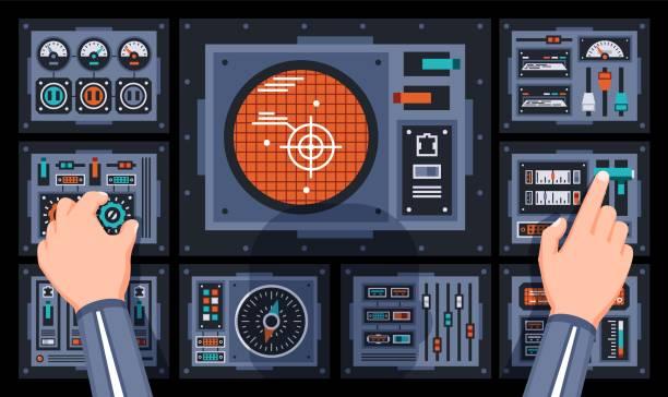 Bекторная иллюстрация Pilot hands on the control panel of the spaceship