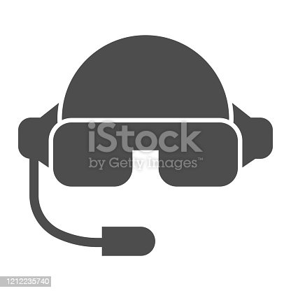 Pilot helmet solid icon. Aviator jet mask with glasses and microphone symbol, glyph style pictogram on white background. Warfare sign for mobile concept and web design. Vector graphics