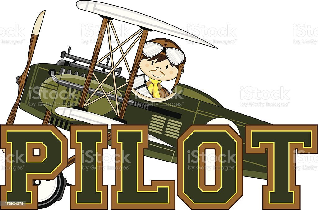 WW1 Pilot Learn to Read Illustration royalty-free stock vector art