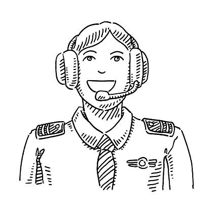 Pilot Occupation Portrait Drawing
