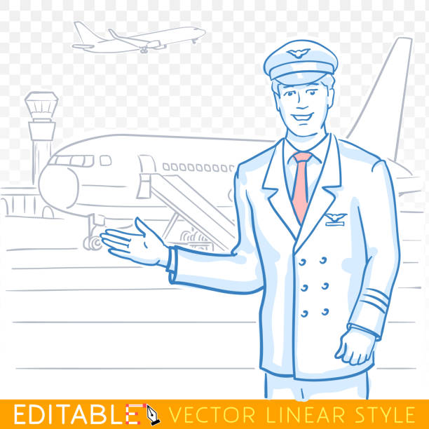 Pilot of a civil aircraft welcome on board gesture. Handsome employee of airline in the airport. Editable sketch in blue ink style. Hand drawn doodle vector illustration. vector art illustration