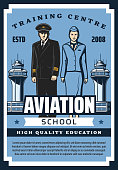 Civil aviation school, pilot and flight attendant training center vintage retro poster. Vector airline service staff premium quality education, pilot and stewardess in uniform at airport