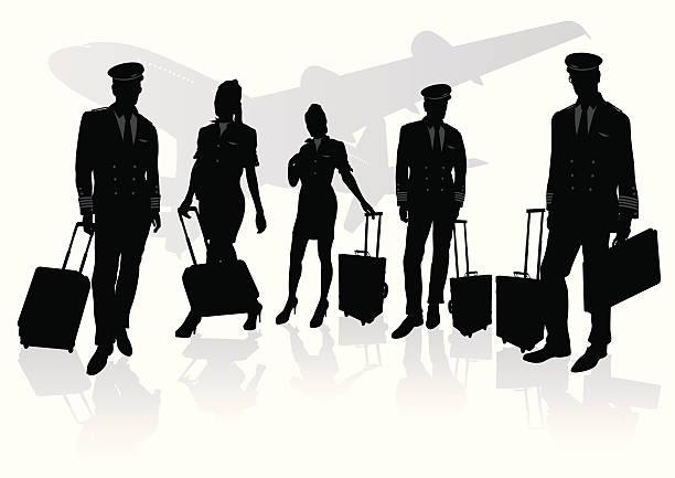 stockillustraties, clipart, cartoons en iconen met pilot & stewardess - stewardess