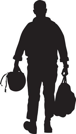 Pilot Walking with Helmet Silhouette