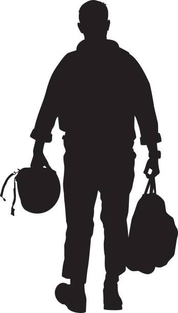 Pilot Walking with Helmet Silhouette Vector silhouette of a man walking while holding a backpack and a helmet. air force stock illustrations